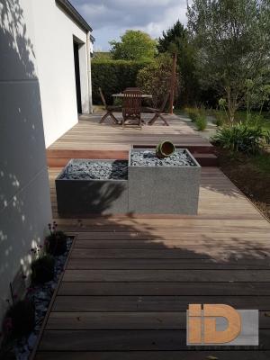 Terrasse Padouk finition droite avec lames de rive