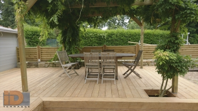 Terrasse sous pergola végétalisée